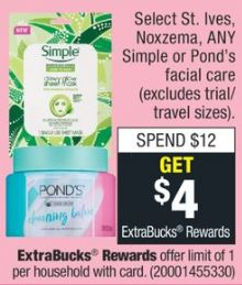 Select St. Ives, Noxzema, ANY Simple or Ponds Facial Care