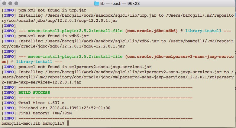 SQLCL 18 1 1 Release installing jars to local maven