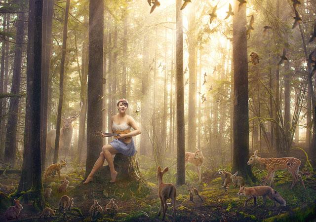 5 Langkah Membuat Foto Magical Berkomposisi Hutan dan Hewan
