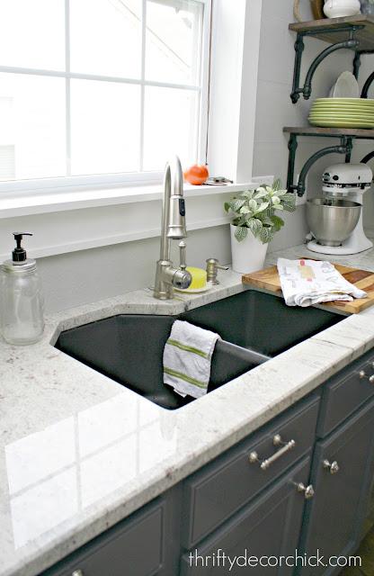 River White granite with dark sink