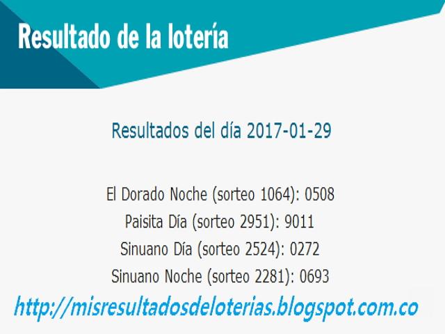 Loterias de Hoy - Resultados diarios de la Lotería y el Chance - Enero 29 2017