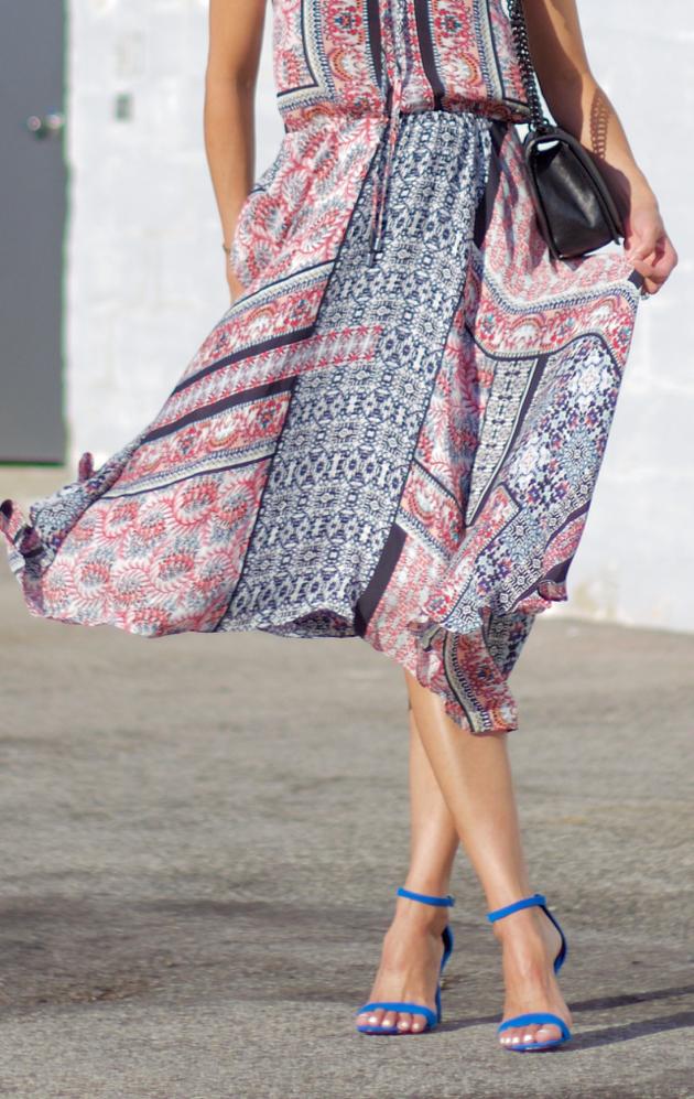 Parker dress skirt blowing in wind