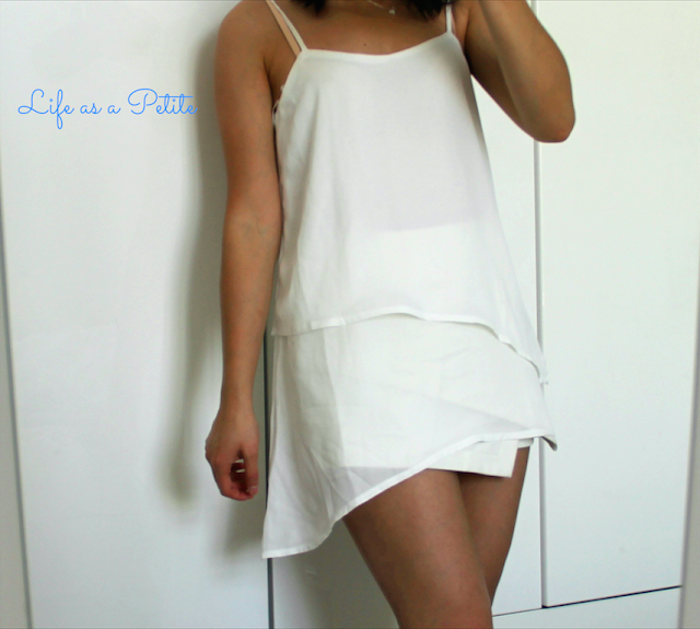 Chiffon White Asymmetric Cami and Faux Leather White Skort Missguided Life as a Petite
