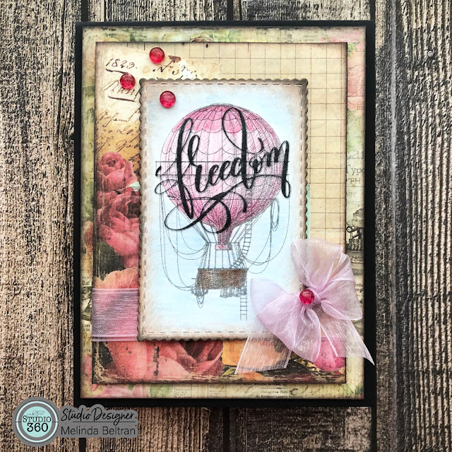 RGSTUDIO360 FREEDOM Balloon Shabby Chic Card with FREE DOWNLOAD LINK