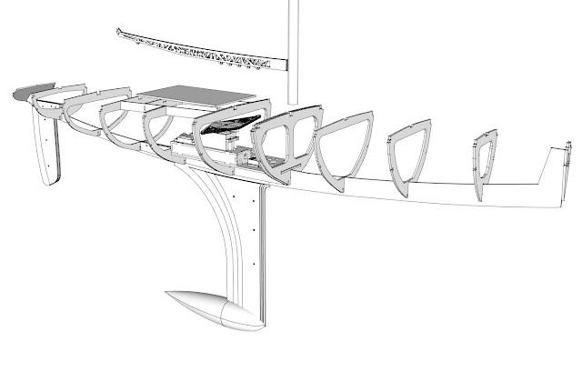 RC sailboat laser cut frames
