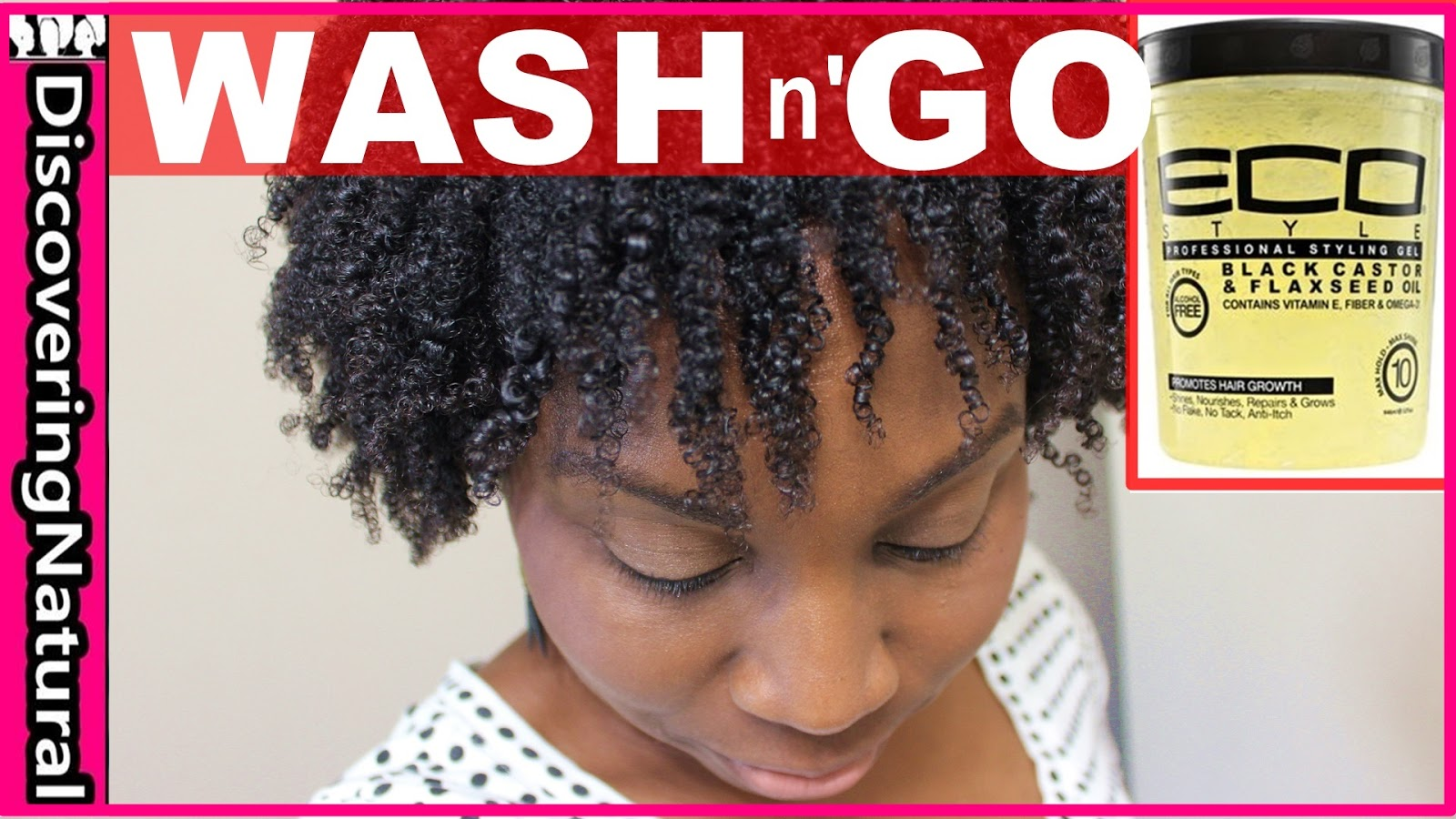 Wash And Go On Kinky Coily Curly Natural Hair Using Eco Styler Gel Black Castor And