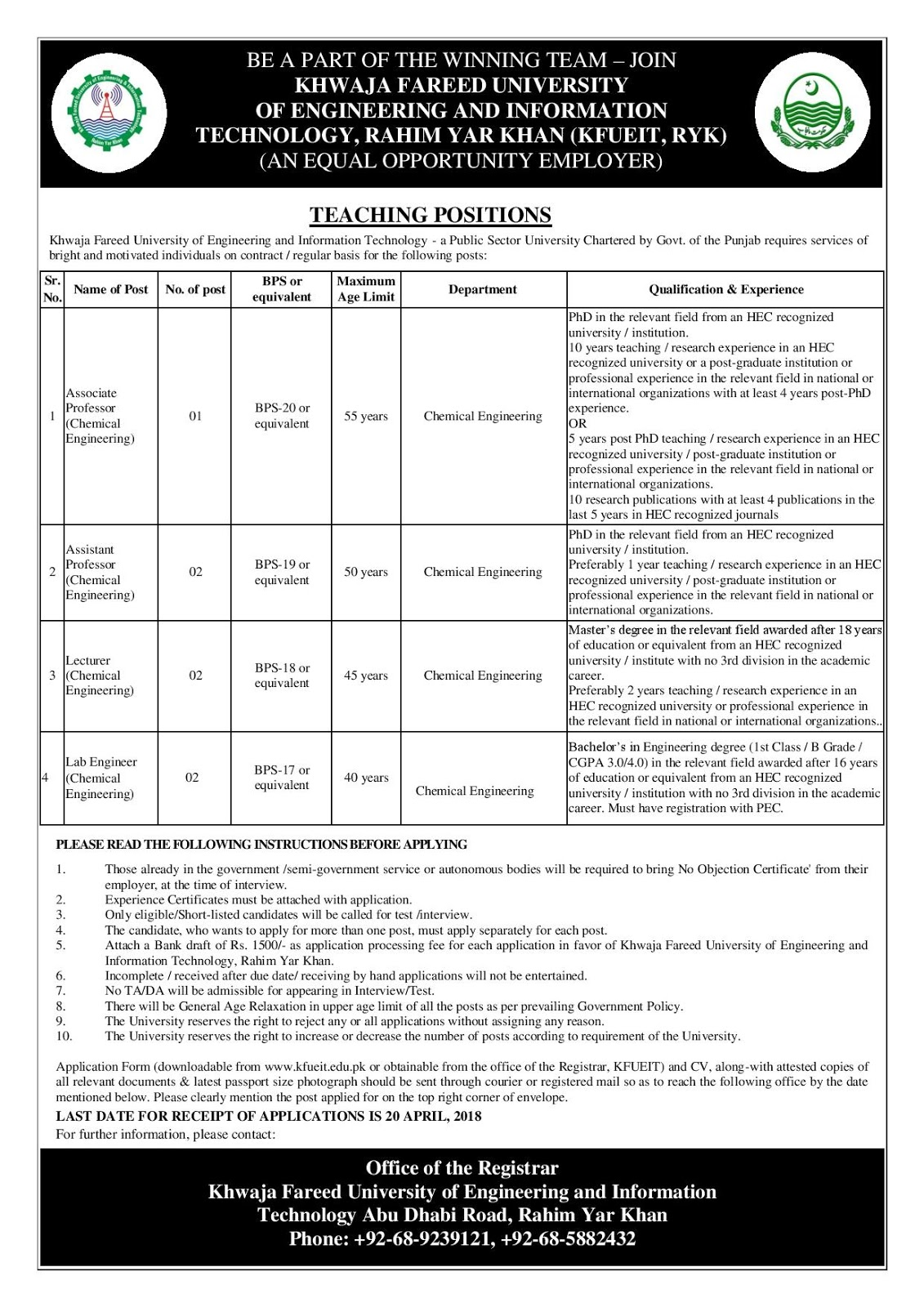 Teaching Jobs of associate professor, Assistant Professor, lecturer, lab engineer at Khawaja farid University of Engineering and Information Technology Rahim Yar Khan