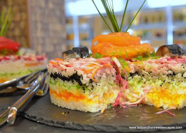 sushi cake at Lapita's Daycation Brunch