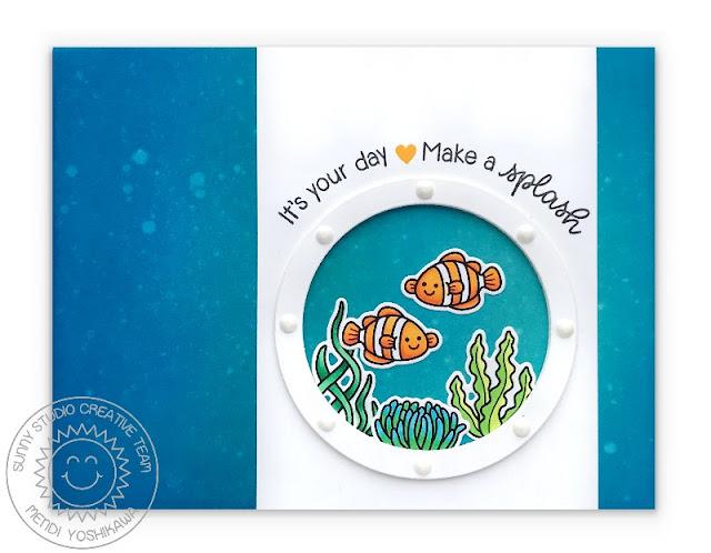 Sunny Studio Stamps: Best Fishes Clownfish Porthole Ocean Sea Themed Card by Mendi Yoshikawa