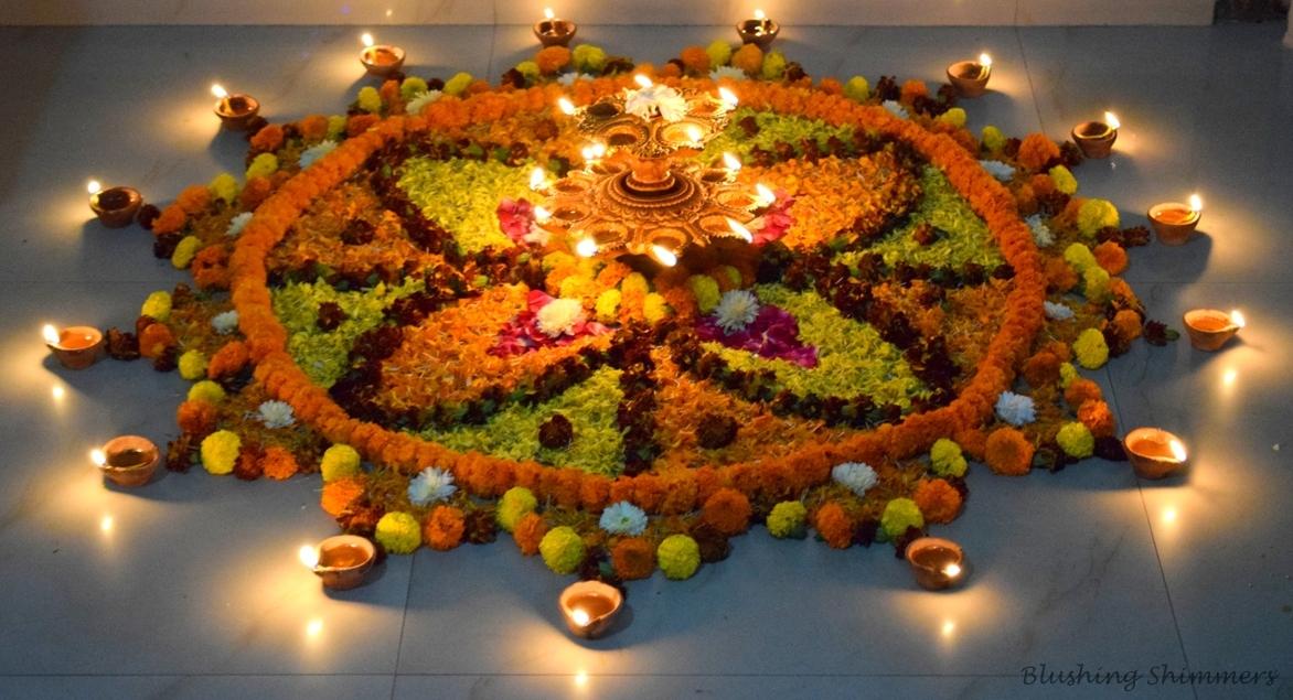 Diwali Diya Flower Rangoli