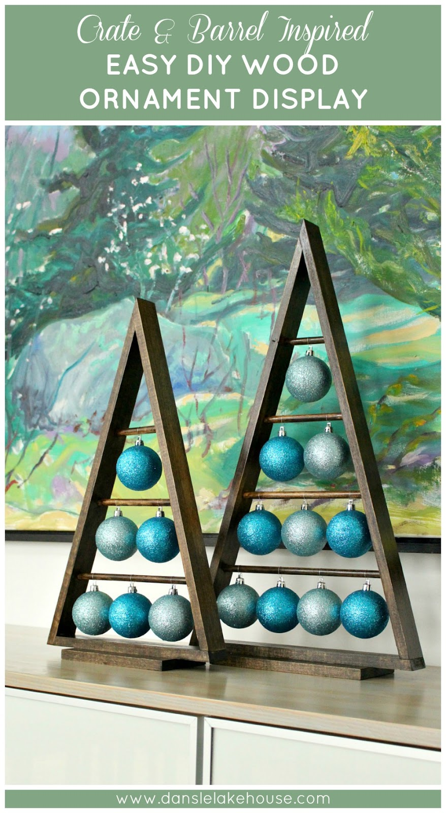 Crate & Barrel Ornament Stand Knock Off // Easy DIY A-frame Wood Ornament Display