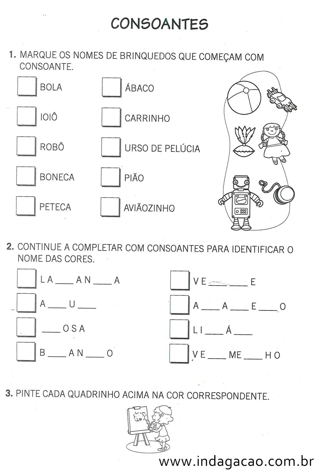atividades - consoantes - educa u00e7 u00e3o infantil