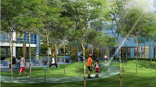 Khuôn viên cây xanh, sân vườn dạo bộ rợp bóng mát