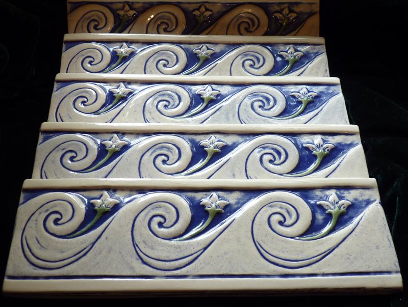 Decorative Relief Carved Ceramic Wave Border Tile