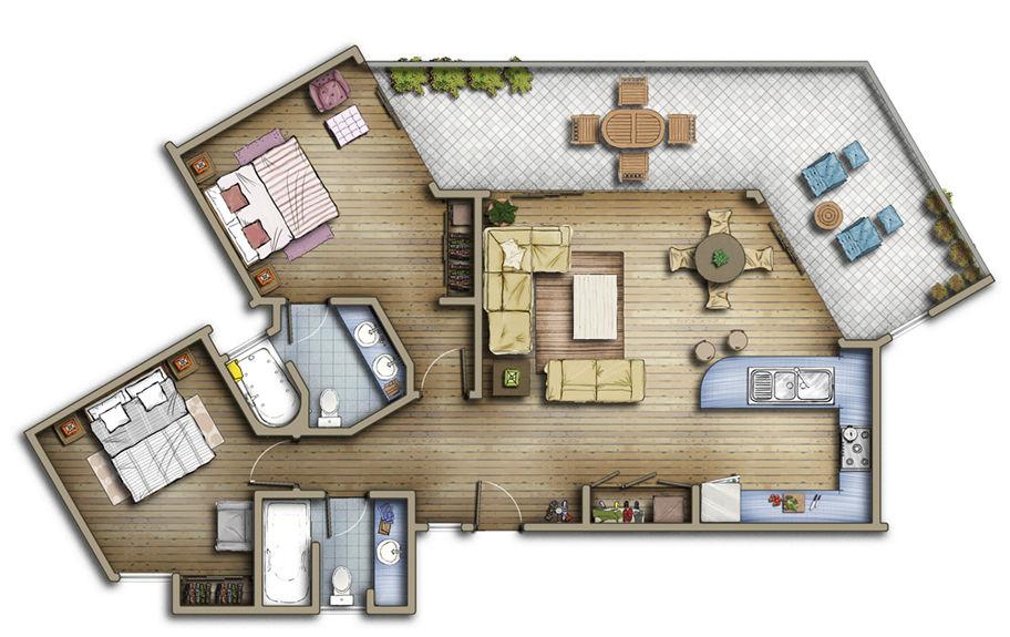 Photoshop 2d blocks floor plan for Residential house design plans