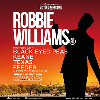 BLACK EYED PEAS, KEANE, TEXAS and FEEDER to join ROBBIE WILLIAMS at BST Hyde Park on 14th July 2019