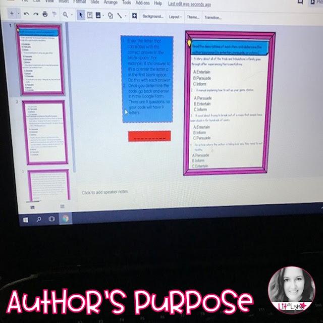 Author's Purpose Digital Escape Room