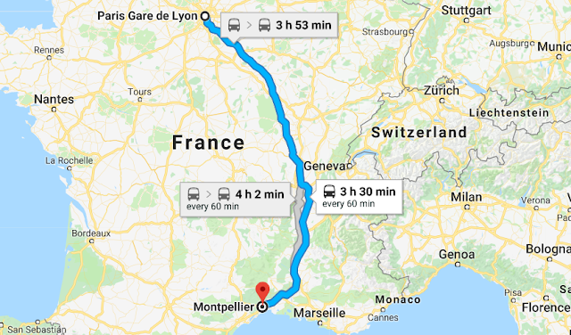 Mapa viagem de trem de Montpellier a Paris