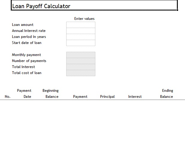 loan payoff calculator interest only