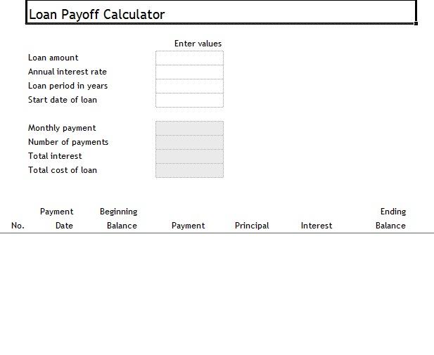 Loan Payoff Calculator ~ Template Sample