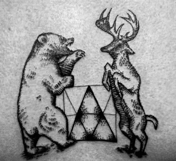 Stag Bear Tattoo, Woodland Tattoo, Geometric Animal Tattoo, Woodcut Tattoo