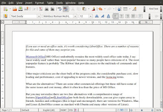 LibreOffice in use
