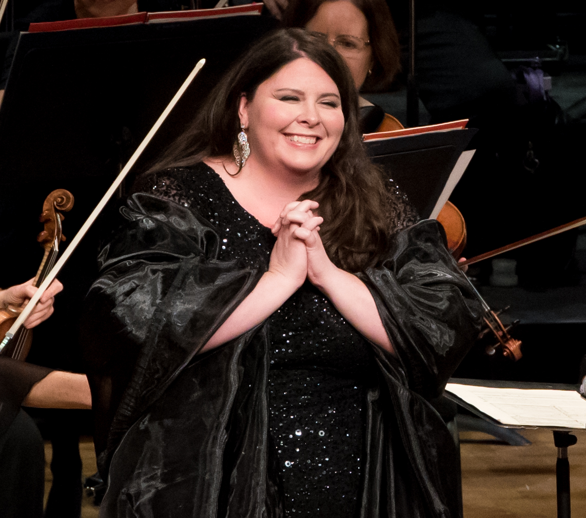 IN REVIEW: Soprano ANGELA MEADE receives the audience's adulation during Washington Concert Opera's 30th Anniversary Concert [Photo by Don Lassell, © by Washington Concert Opera]