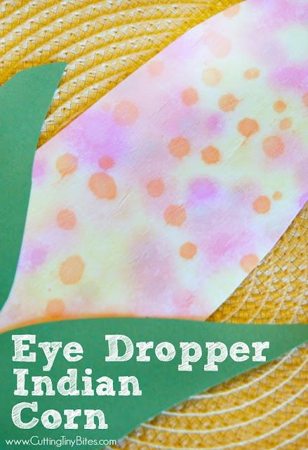 Eye Dropper Indian Corn.  Thanksgiving fine motor craft for preschool, kindergarten, or elementary students.