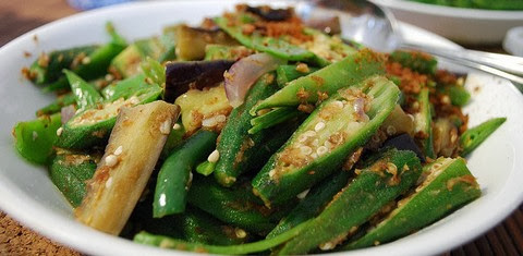 Peppery Okra and Eggplants with French Beans and Snow Peas