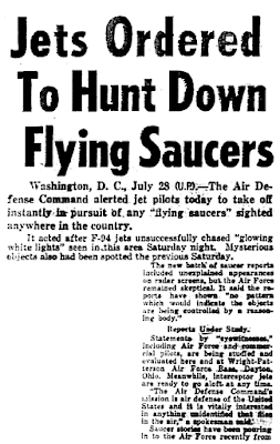 Jets Ordered To Hunt Down Flying Saucers - Daily News 7-28-1952