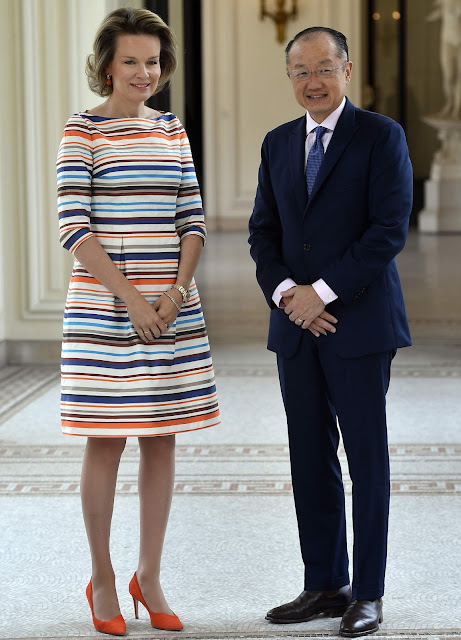 Queen Mathilde of Belgium met with Dr. Jim Yong Kim, President of the World Bank Group