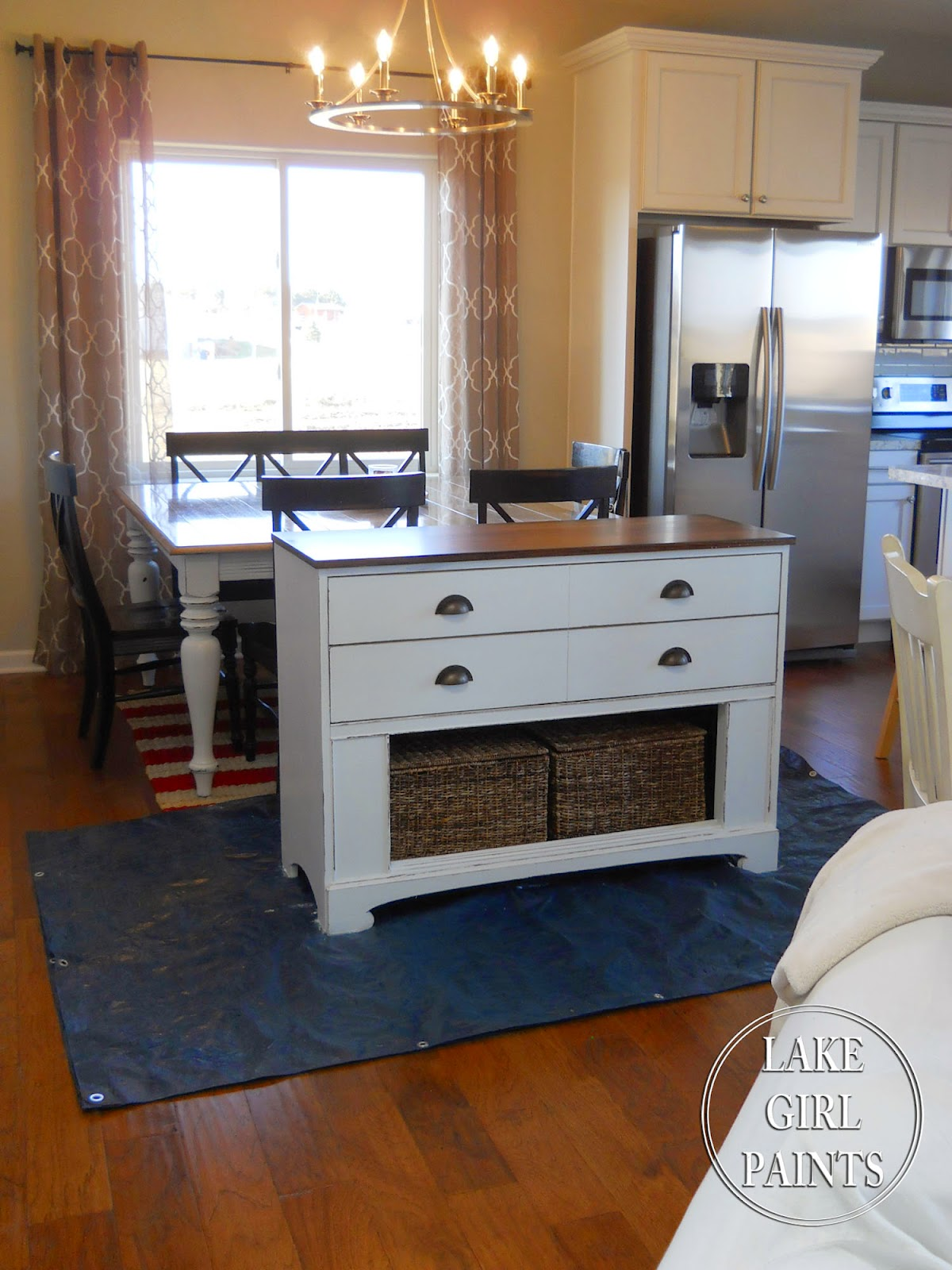 Lake Girl Paints White And Natural Wood Sideboard