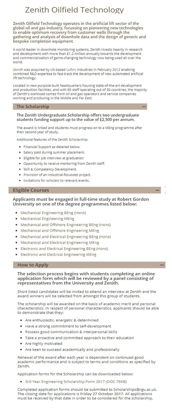 Zenith International Undergraduate Scholarships at Robert Gordon University in UK