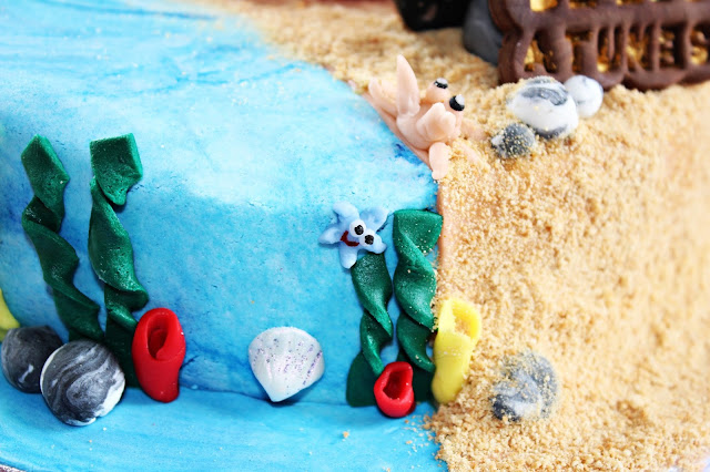 "PASTEL DE CUMPLEAÑOS {CON FONDANT} ""EN LA PLAYA"" ON THE BEACH"