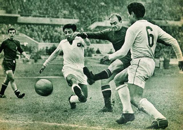 Chile y España en partido amistoso, 14 de julio de 1960
