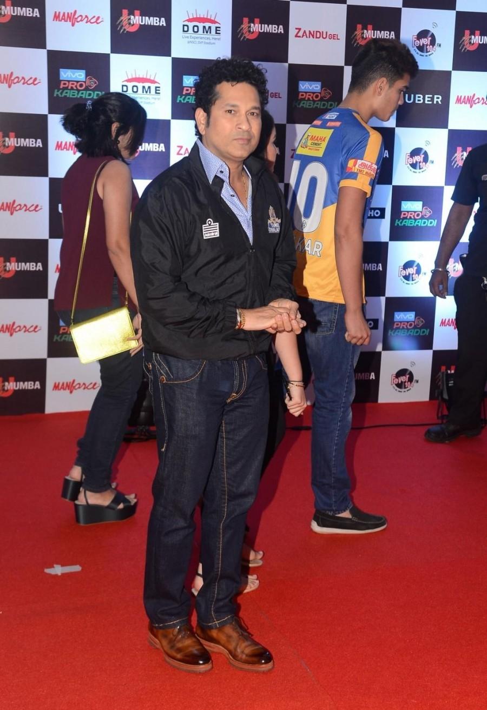 "Sachin Tendulkar, Abhishek and Aishwarya Bachchan During The Red Carpet of ""Pro Kabaddi""."
