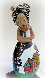 Rise Up an OOAK Gourd and Clay Art Doll for Women's Empowerment and Healing our World