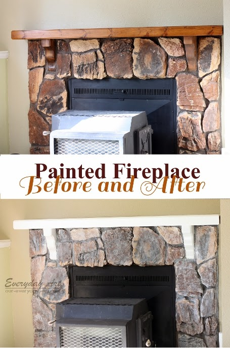 Home Update Painted Stone Fireplace