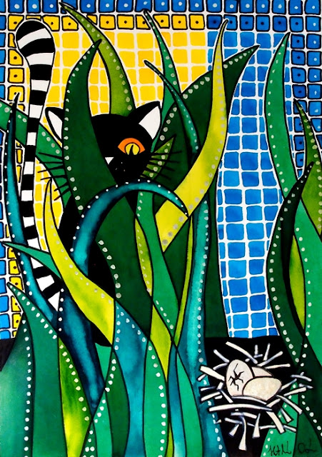 Cat Art Hunter in Camouflage by Dora Hathazi Mendes