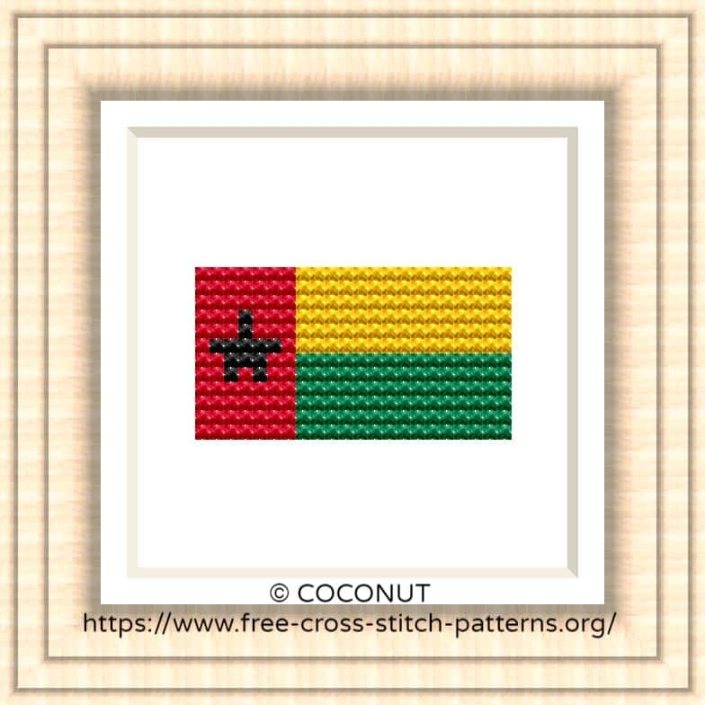 NATIONAL FLAG OF GUINEA-BISSAU CROSS STITCH CHART
