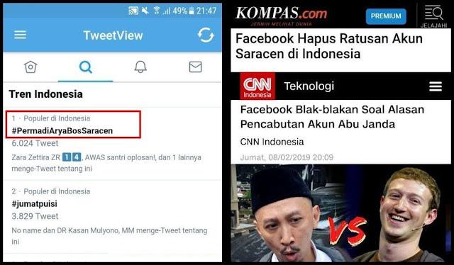 Akun Abu Janda Dihapus Facebook, Tagar #PermadiAryaBosSaracen Jadi Trending Topic