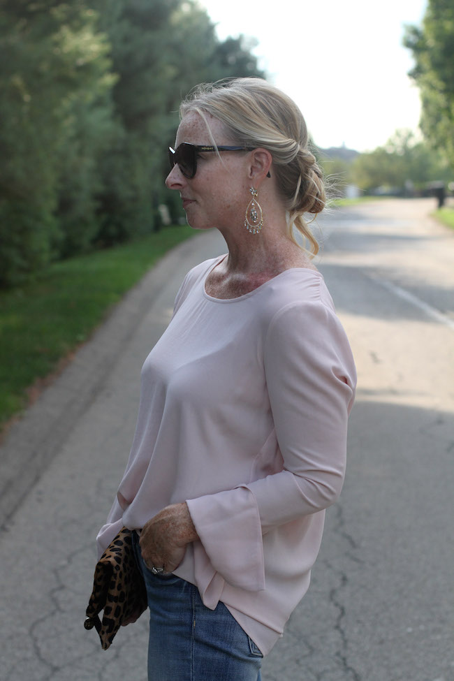 saint laurent sunglasses, marchesa earrings, pleione top