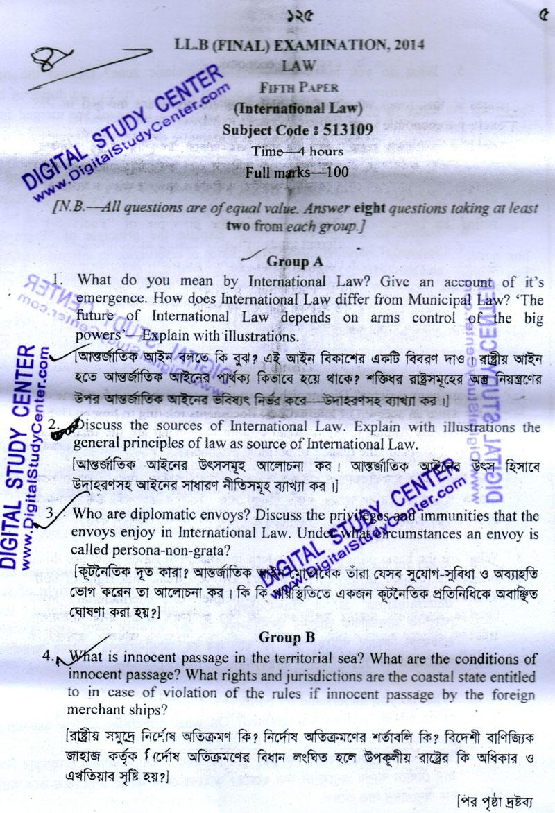 Question Bank BD International Law NU LLB Final Exam 2014