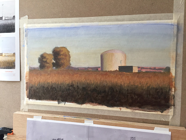 Daily Art 07-15-2018 opaque painted layer for Acrylic Landscapes class with Bennett Vadnais