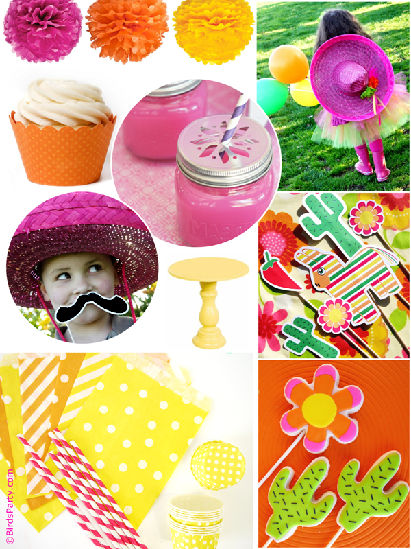 Pink, Orange, Green & Yellow Cinco de Mayo Party Ideas - BirdsParty.com