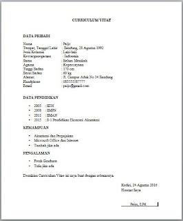 contoh surat lamaran kerja untuk bursa kerja atau job fair