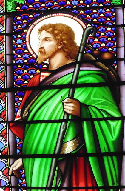 Jésus le Bon pasteur, vitrail, église de Saint Etienne le Molard ©Défrade