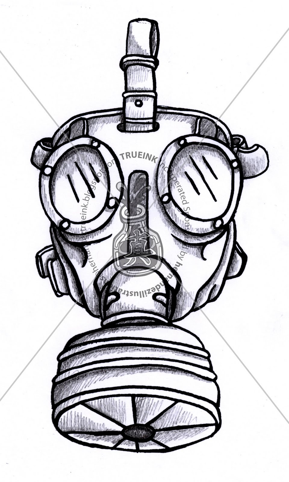 Gas Mask Outline Stenc...