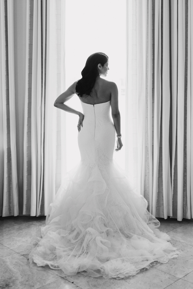 gorgeous black and white portrait of the bride in her Vera Wang gown