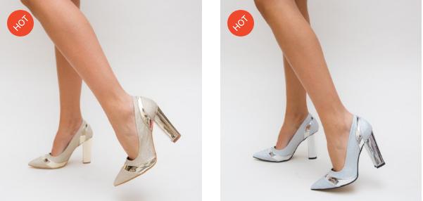 Pantofi aurii, argintii eleganti cu toc gros si piele lacuita